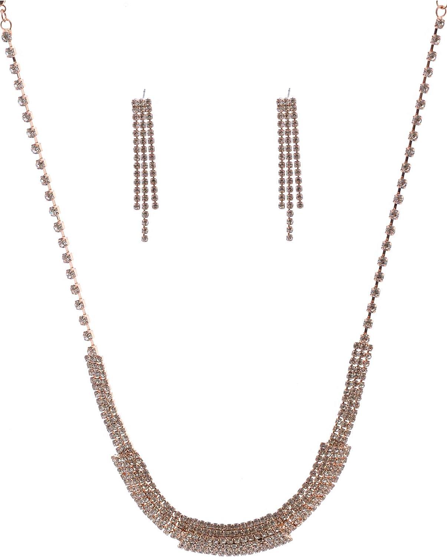 Topwholesalejewel Wedding Jewelry Set Rose Gold Plating Mesh Necklace Dangle Earrings Set