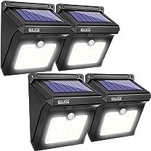 فناوری BAXIA چراغ های خورشیدی چراغ های خورشیدی بیرونی، بی سیم 28 LED چراغ های سنسور خورشیدی، چراغ های ضد آب برای دیوارهای بیرونی، حیاط پشت، حصار، گاراژ، باغ، راه آهن (400LM، 4 بسته)