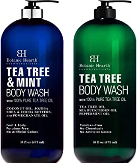 BOTANIC HEARTH Tea Tree Body Wash and Tea Tree Mint Body Wash Bundle - Helps with Nails, Athletes Foot, Acne, Eczema & Bod...
