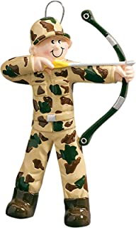 Personalized Bow Hunter Christmas Tree Ornament 2019 - Camouflage Combat Man Camo Archery Practice Shooting Arrow Target Hunting Hobby Sport Recreational Activity Wood Log Year - Free Customization