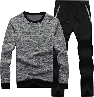 Sodossny-AU Mens Pants 2-Piece Sets Running Sweatsuit Sweatshirts Active Workout Tracksuits