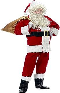 Molodo Santa Suit for Men, Men`s Deluxe Santa Suit 10pcs Christmas Ultra Velvet Adult Santa Claus Costume