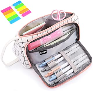 Pencil Case, Yloves Big Capacity Pen Pencil Bag Pouch Box Organizer Holder with 2 PCS Index Tabs for School Office (White ...