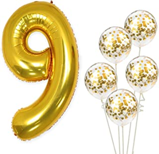 KatchOn Number 9 and Gold Confetti Balloons - Large, 40 Inch Foiil Gold Balloons | 5 Gold Confetti Balloons, 12 Inch | 9th Birthday Party Decorations | Party Supplies for Anniversary Décor
