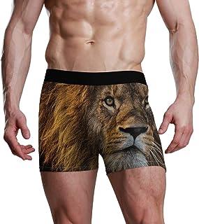 Slip Boxer da Uomo Happy for Men Boy Ultra Soft Premium Boxer Elasticizzato Tronco Intimo Confortevole Leone Animale Marro...