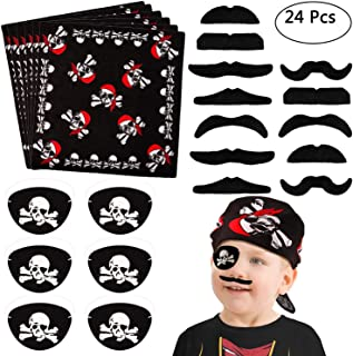 Morfong 24pcs Pirate Costume Accessories Set Kids Pirate Captain Eyepatch Pirate Bandana Headscarf Mustaches Kids for Carnival, Halloween and Parties