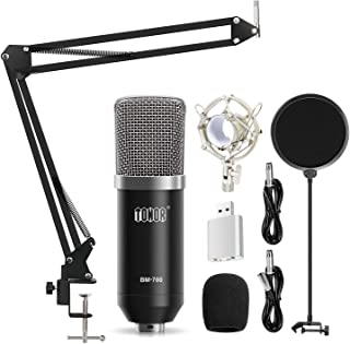TONOR XLR Condenser Microphone Kit with XLR to XLR Cable/3.5mm to XLR/Adjustable Mic Suspension Scissor Arm/Shock Mount/USB Audio Adapter for Professional Studio/Home Recording, Podcasting, Black