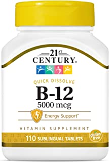 21st Century B 12 5000 mcg Sublingual Tablets, White Unflavored 110 Count