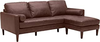 Amazon Brand – Rivet Aiden Mid-Century Modern Leather Reversible Sectional Sofa, 86
