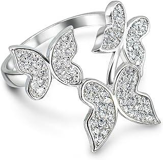 纯银方晶锆石蝴蝶宣言戒指