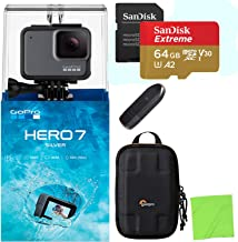 GoPro HERO7 Silver — Waterproof Digital Action Camera with Touch Screen 4K HD Video 10MP Photos with Samsung 64GB MicroSD Card & Lowepro Dashpoint Action Case Kit