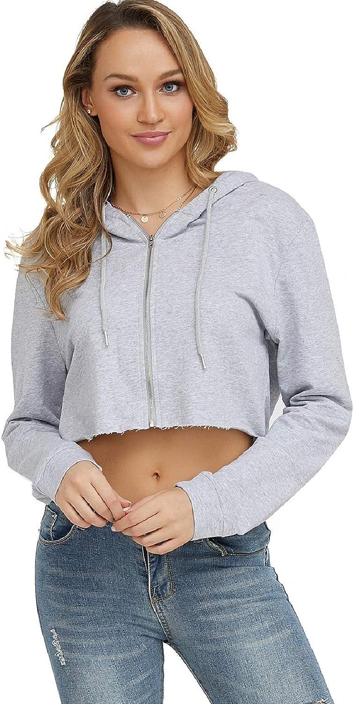 Moxeay Women's Cropped Hoodie Long Sleeve Zip Up Crop Hoodie Wor