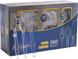 Party Bargains Disposable Cutlery set, Color: Clear, Count: 360 Pcs (SAPPHIRE)