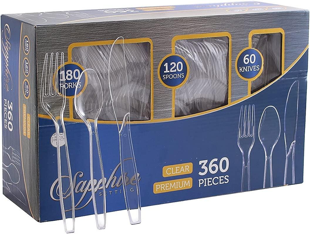 Party Bargains Disposable Cutlery Set Color Clear Count 360 Pcs SAPPHIRE