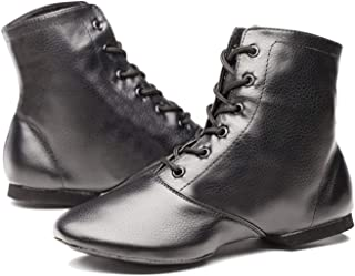 Joocare Child Black Leather Split Sole Jazz Dance Boots Shoes (Toddler/Little Kid/Big Kid)