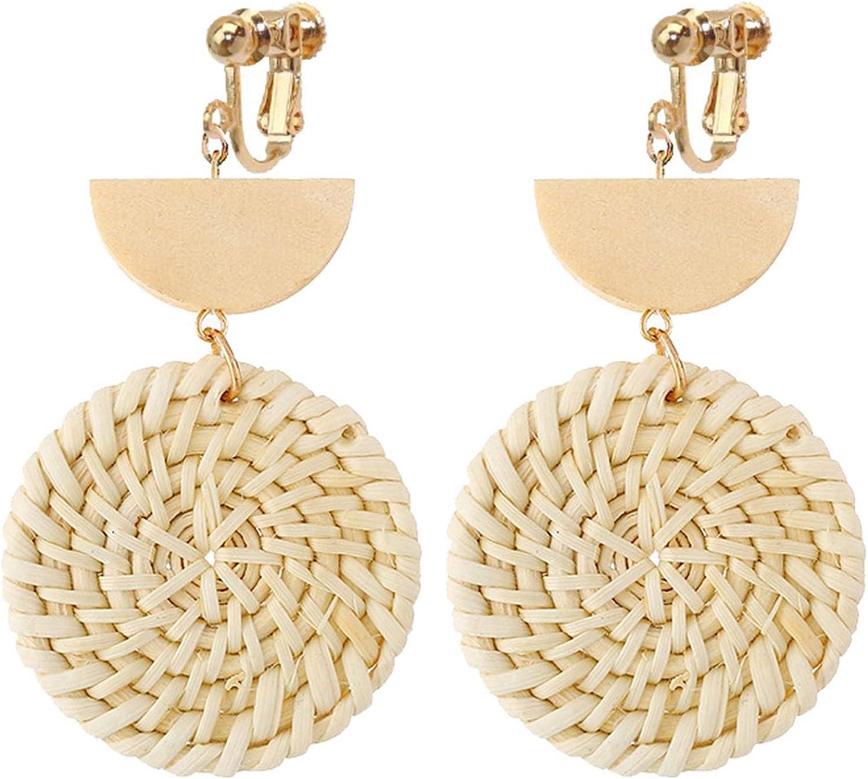 Non Pierced Rattan Clip On Earrings For Girls Women Lightweight Geometric Statement Wood Moon Round Dangle Bohemian Handmade Woven Straw Wicker Braid Hoop Drop Vacation Ears Jewelry