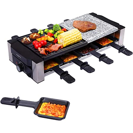 AONI Raclette Grill, gril électrique d'intérieur, gril de barbecue coréen, plaque de gril antiadhésive et pierre de cuisson amovibles 2-en-1, idéal pour les fêtes avec 8 moules à fromage, 1200W