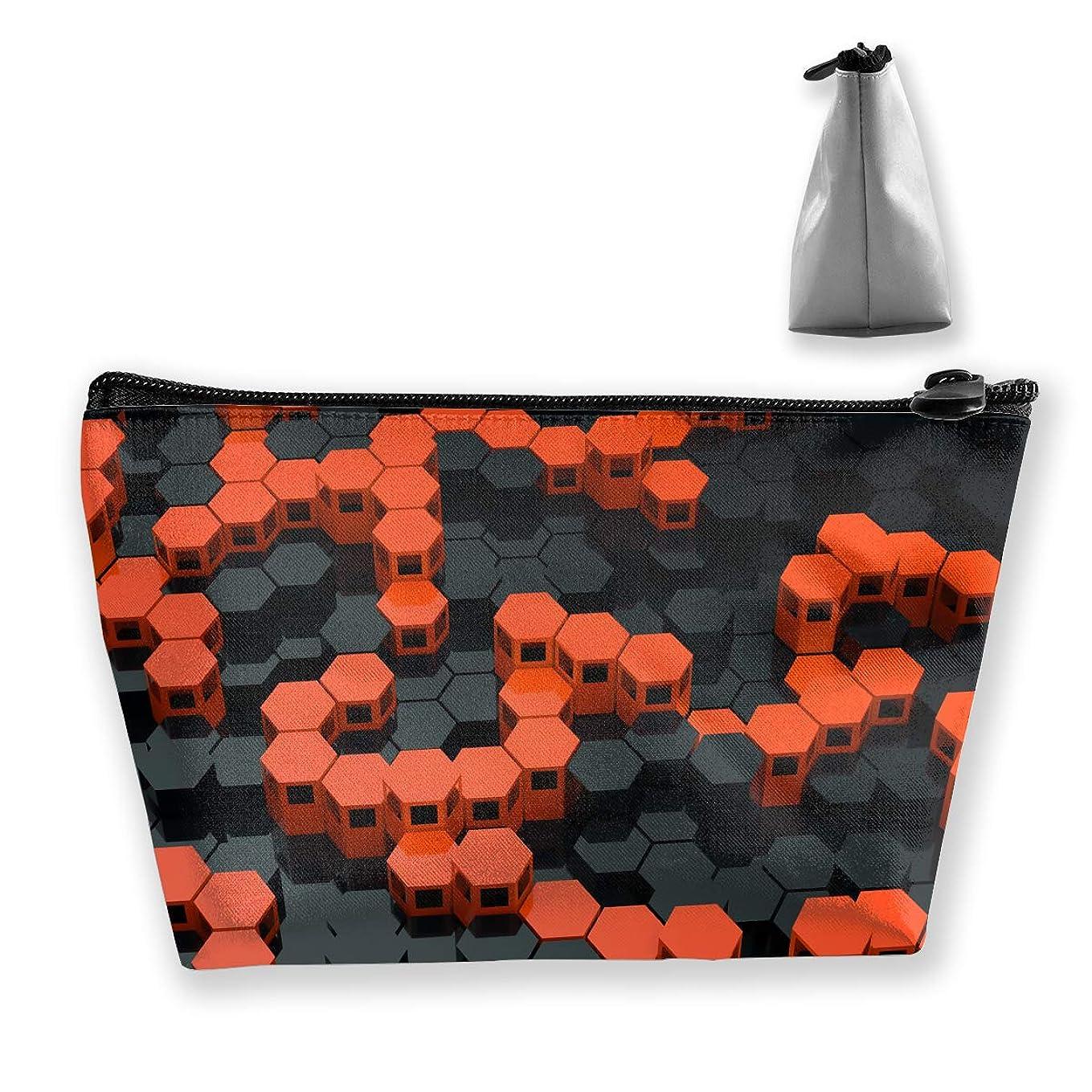 自宅で閲覧する以前は台形 レディース 化粧ポーチ トラベルポーチ 旅行 ハンドバッグ オレンジとブラック コスメ メイクポーチ コイン 鍵 小物入れ 化粧品 収納ケース