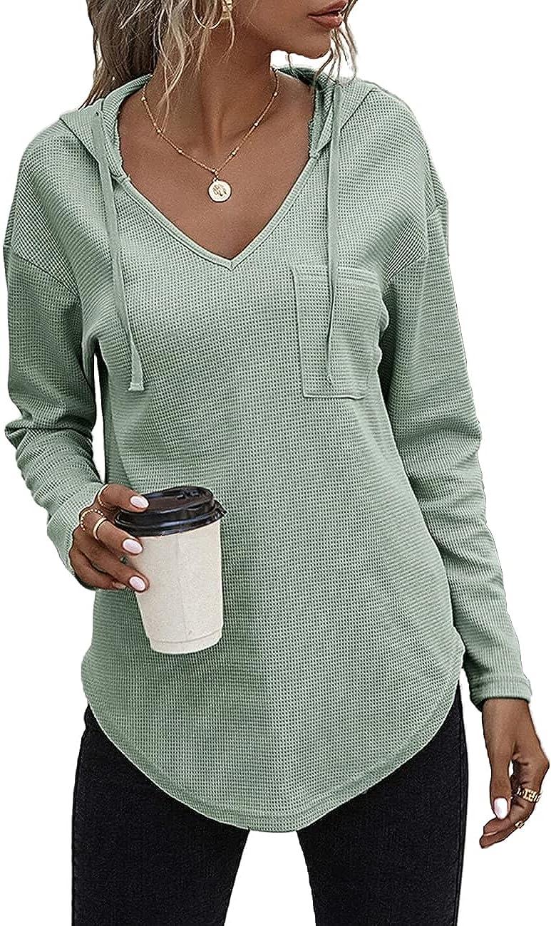 Morhuduck Women's V Neck Hoodies Long Sleeve Sweatshirt Drawstring Pullover Tops with Pocket