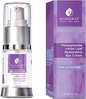 Kudarat Naturally Beautifying Skincare | Gluten Free & Vegan | Pomegranate Plus Aloe Leaf Restorative Eye Cream | 0.5 fl oz