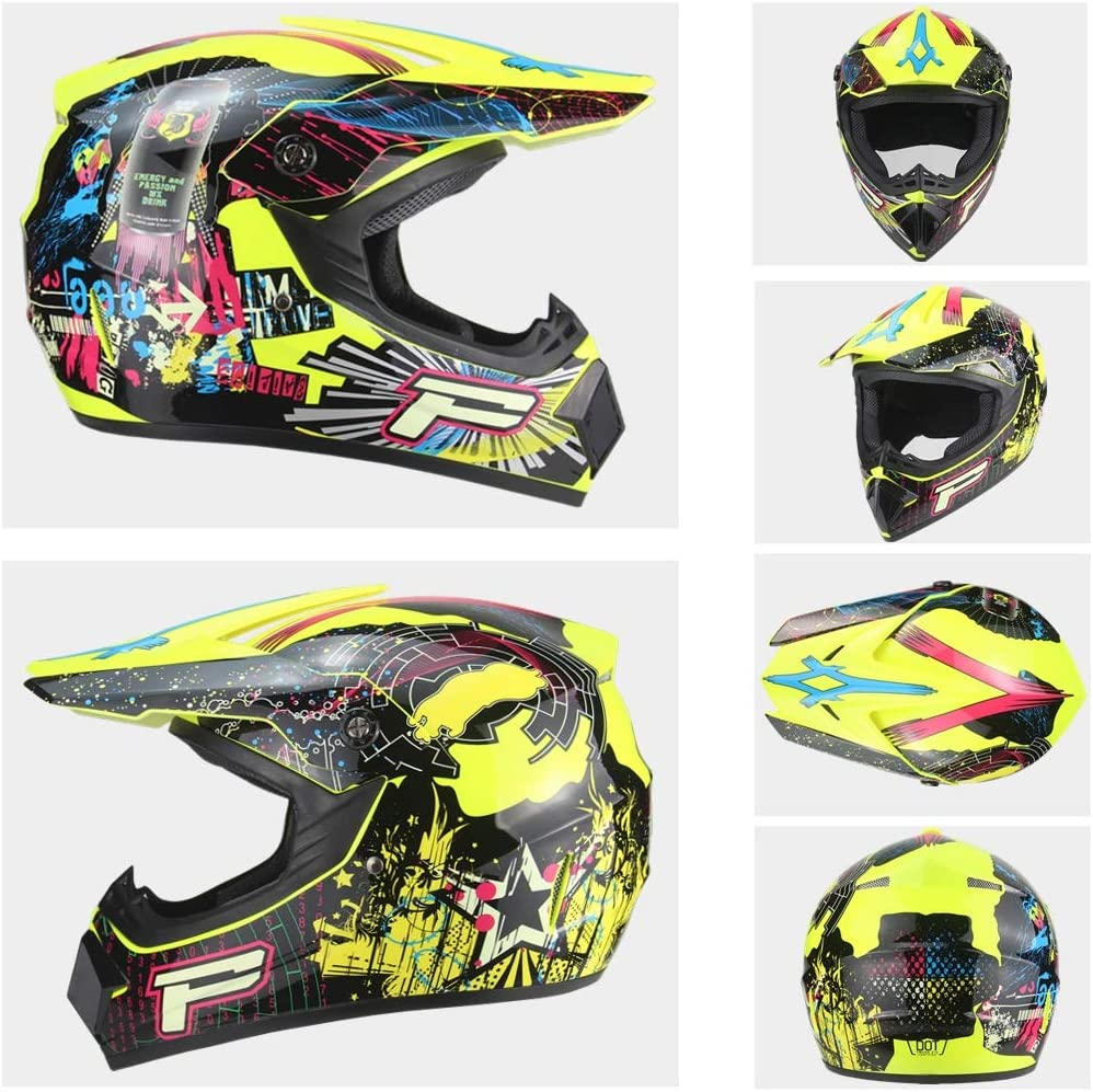 Sanqing Motorcycle DH Helmet,Outdoor Youth Kids Dirt Bike Helmets,Full Face Motocross Off-Road Downhill Racing Helmet Gloves, Goggles, Mask, 4 Piece Set
