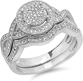 0.50 Carat (ctw) Round White Diamond Womens Micro Pave Engagement Ring Set 1/2 CT, Sterling Silver