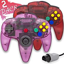 Wired Controller for Nintendo 64 N64 Console, Upgraded Joystick Classic Video Game Gamepad(1Clear Red and Clear Purple,Pack of 2)