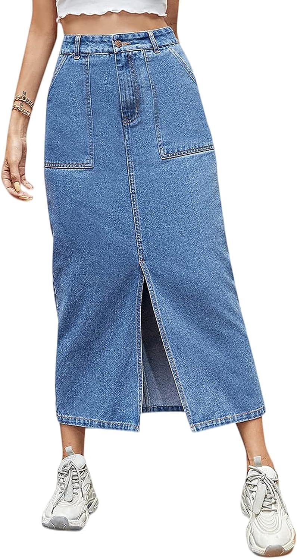 MakeMeChic Women's High Waist Slit Hem Long Denim Skirt Jean Skirt with Pockets