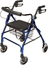 Graham-Field - RJ4300B Lumex Walkabout Lite Four Wheel Rolling Walker Rollator With Ergonomic Hand Grips And Carrying Bask...
