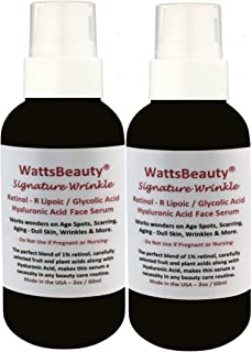 Watts Beauty Signature Wrinkle Retinol - Hyaluronic Acid - Glycolic Acid Gel for Wrinkles, Age Spots, Aging, Dull Skin, Scarring, Discoloration & More (4oz)
