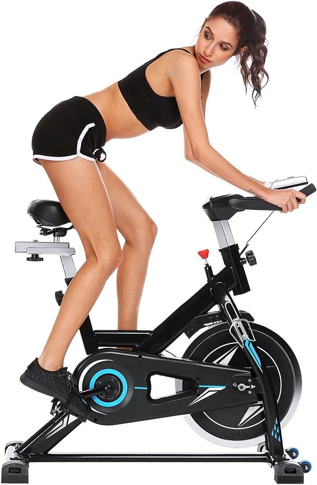 Profun fit, bicicletta spinning, cyclette fitness cardio, display lcd, nero+blu