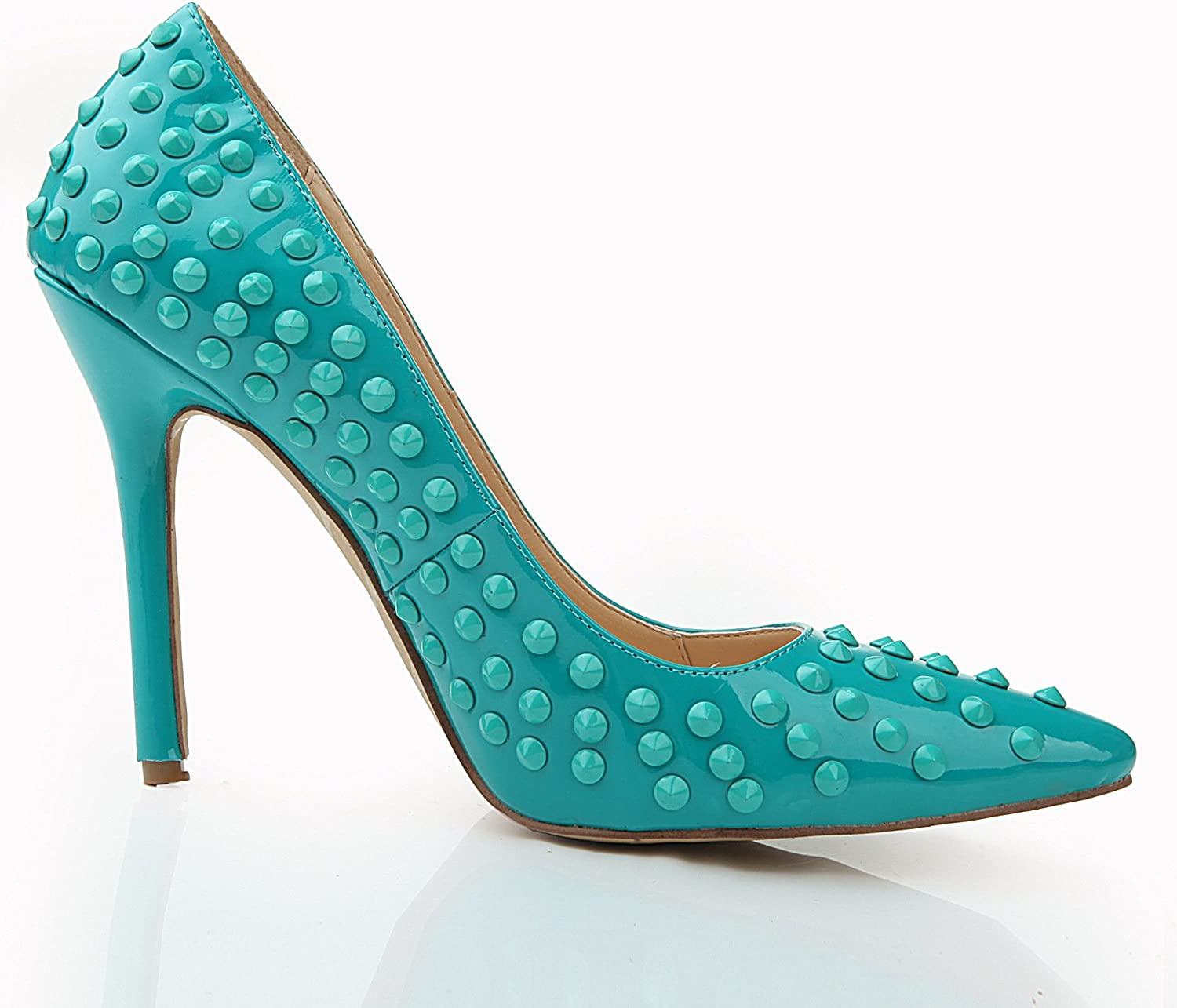 shoesmaker's heart Heeled shoes Rivet shoes Summer Pointed Ladies High Heels Green