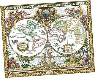F Fityle Kreuzstich Stickpackung Stickbild Stickvorlage vorgedruckt Sticken Stickset- Alte Weltkarte
