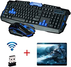 UrChoiceLtd® 2017 Cityform HK8100 Inalámbrico Multimedia Gaming Teclado + 2,4 GHZ 4 Botones Ratón De Golf, Color Negro Y Azul