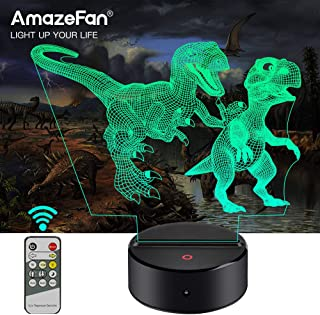 Dinosaur Night Light for Kids-3D Dinosaur Lamp 7 Colors Optical Illusion Touch & Remote Control-Best Birthday Christmas New Year Gifts for Boys Girls Kids Baby (Indoraptor, T-Rex)
