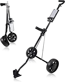 WeGuard Deluxe Steel Push Pull Golf Cart with 2 Wheels-Lightweight and Sturdy (black-A007)
