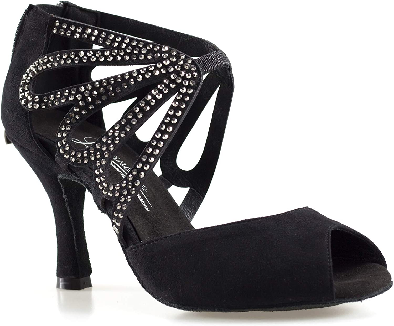 Dancine Butterfly Ballroom Latin Salsa Tango Dance shoes,Signature Collection,3.3  8.5cm Black