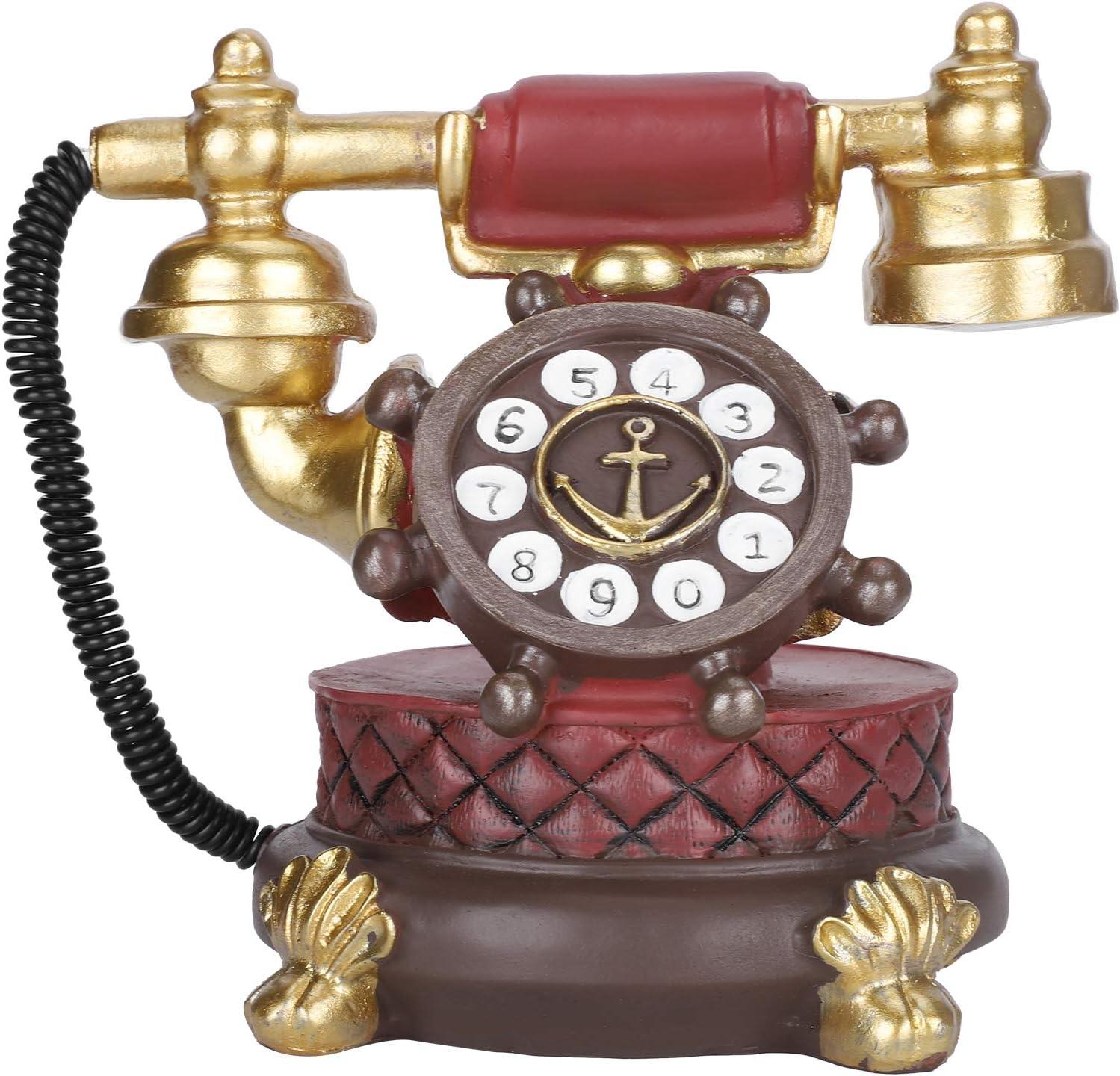 Vintage Dial Telephone Model Piggy Bank for Home Cafe Bar Decoration Gift Antique Telephone Ornament Blue