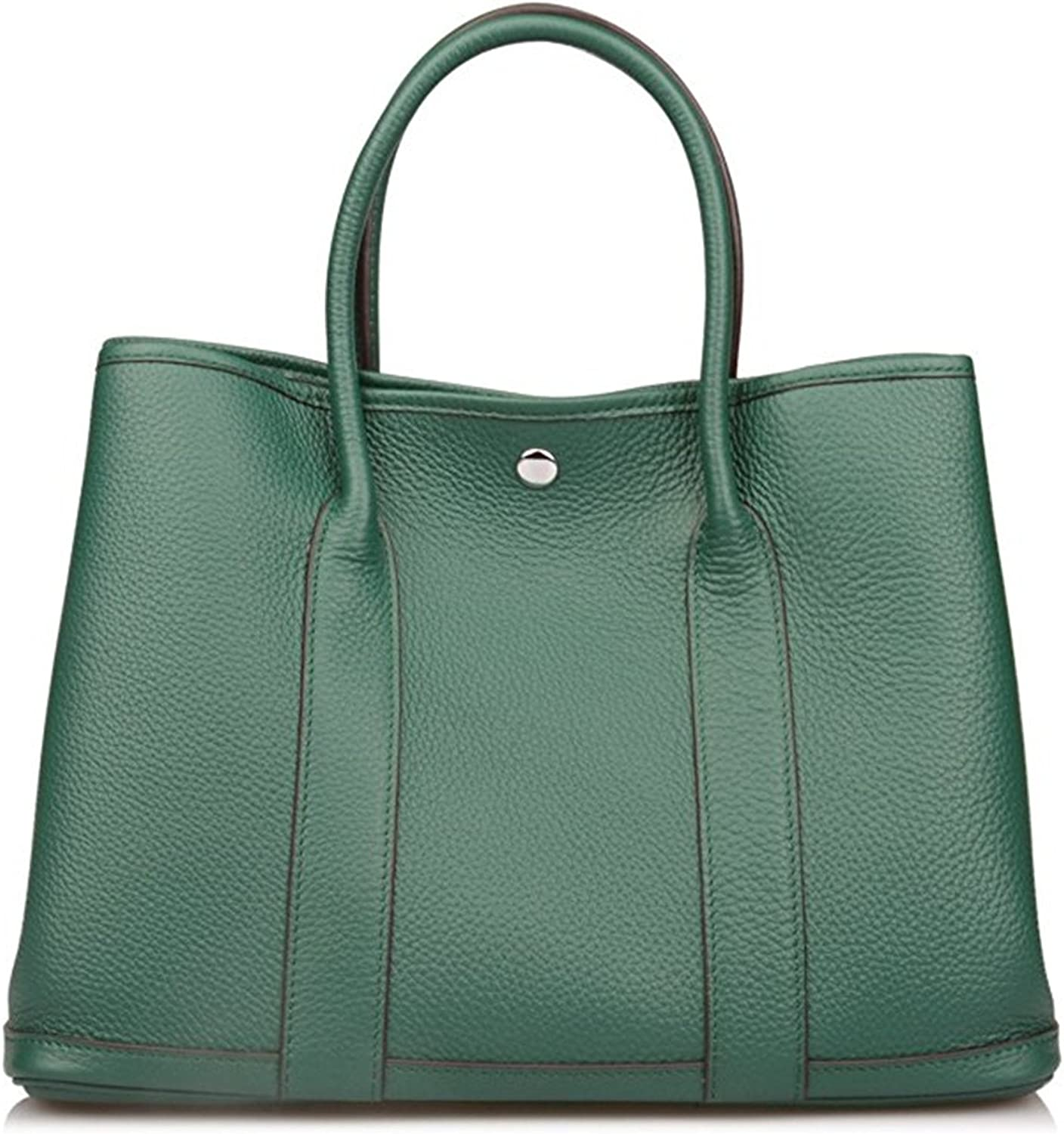 Genuine Leather Tote Bag Top Handle Handbags Emerald