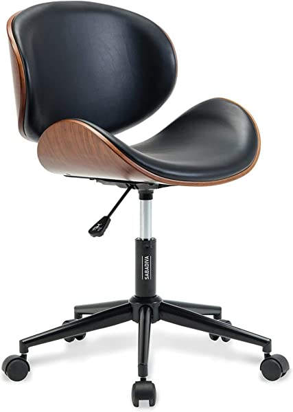 SABADIVA Modern Office Chair Office Chair Black Office Chair Mid Century Upholstered Metal Base Adjustable Office Desk Swivel Chair