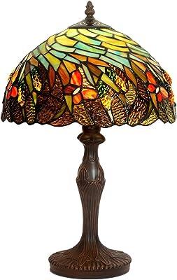 LHQ-HQ Rétro européenne de Style Tiffany Bronze Lampe Métal Lampe de Bureau américaine Antique Salon Chambre Chevet Porche Vitrail Table Ronde Lampe 30x30x48cm Classique Noble
