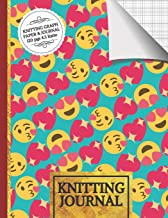 Knitting Journal: Cute Emoji Knitting Journal: Half Lined Paper, Half Graph Paper (4:5 Ratio) Knitting Gifts for Women