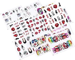 iFancer Nail Stickers Water Transfer Nail Art Decals for Women Girl Fingernail Toenail Tattoo Decoration Sexy Girls Love Kiss Dollar Lips Smoke Pattern Nail Art Supplies (Sexy Girl Series)