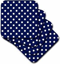 3dRose LLC cst_24685_2 Navy Blue and White Polka Dot Print Soft Coasters, Set of 8