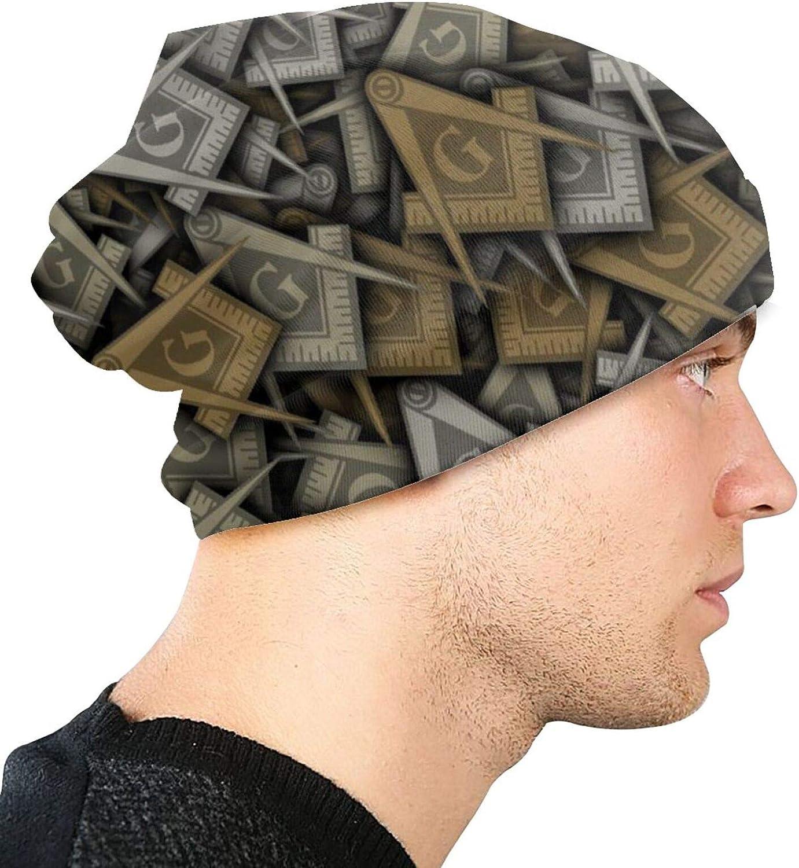 antfeagor Masonic Logo Beanie Fashion Baggy Hat Slouchy Skull Cap for Men Women