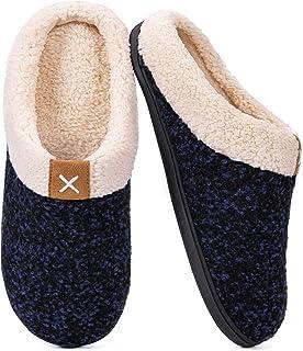 VeraCosy Chaussons confortables pour hommes, Pantoufles classiques en mousse à mémoire de forme avec semelle en caoutchouc...