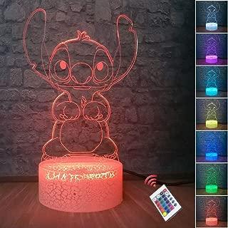 Cartoon Kawaii Lilo & Stitch 3D LED Lamp RGB Lighting 7 Color Change Acrylic Panel USB Cable Bedroom Bedside Table Night Light Child Christmas Gift (Stitch 1)
