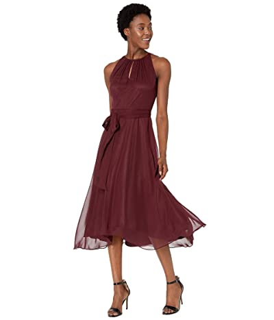 Tahari by ASL Sleeveless Chiffon Midi High-Low Hem Halter Dress (Wine) Women