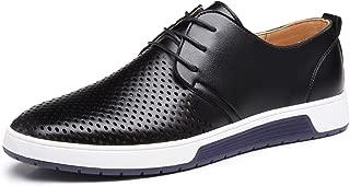 Zapatos de Cuero Hombre, Oxford con Cordones Brogue Vestir Derby Informal Negocios Boda Calzado Respirable Negro Marrón Azul 38-48