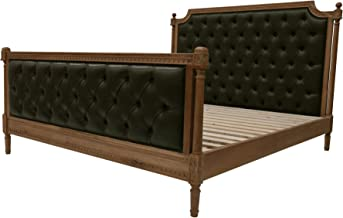 King Bed Vegan Leather with Button Pattern PU Grey Fabric Solid Oak Timber Comes with a headboard and Footboard Bedroom Fu...